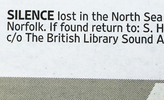 Sebastiane Hegarty Silence lost North Sea: Thursday August 27 2015 (Detail of announcement in The Times)